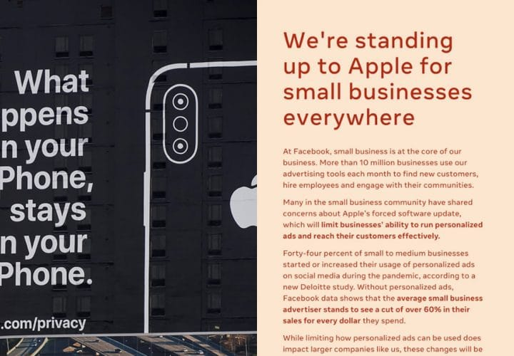 A split-screen of Apple's privacy ad and Facebook's small business ad