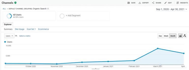 SEO Results - Organic Search Increase Graph