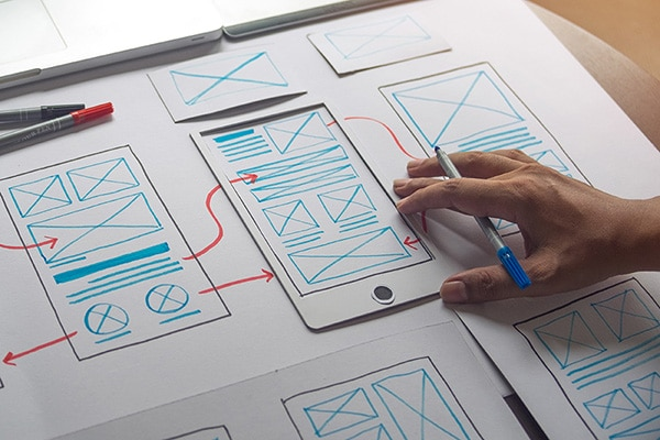 A storyboard illustrating the conept of how modern SEO sits at the intersection of content and UX